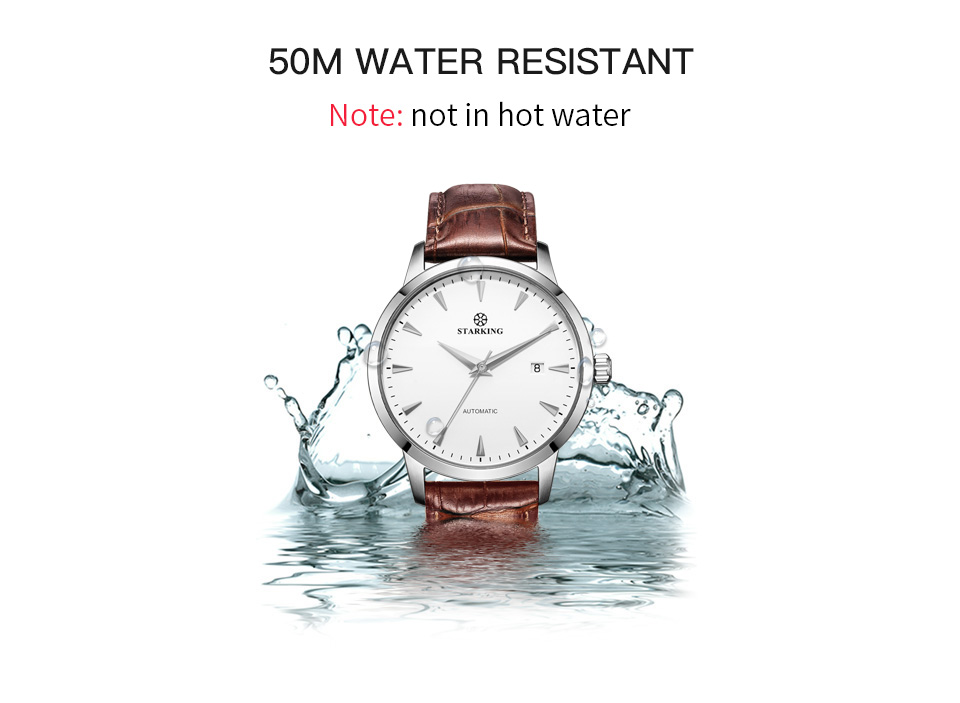 HTB1vsPCk29TBuNjy0Fcq6zeiFXas STARKING Automatic Watches Men Stainless Steel Business Wristwatch Leather Fashion 50M Waterproof Male Clock Relogio Masculino