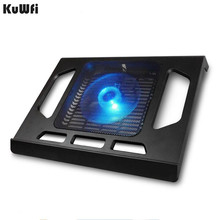 لوحة التبريد للكمبيوتر المحمول الكمبيوتر اللوحي دفتر أقل من 15 بوصة وسادة تبريد الكمبيوتر المحمول التبريد مع مروحة واحدة 2 الأزرق LED Ergonoimice التصميم