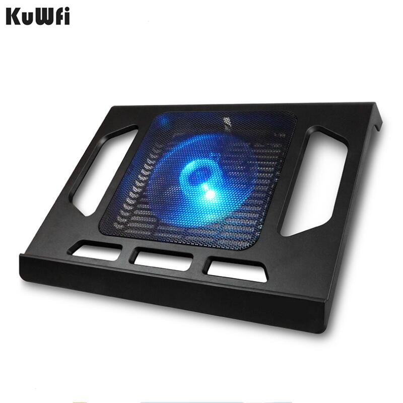 Cooling Pad For Laptop Tablet PC Notebook Below 15 Inch Cooler Pad Laptop Cooling With Single Fan 2 Blue LED Ergonoimice Design-in Laptop Cooling Pads from Computer & Office