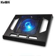 노트북 태블릿 PC 노트북을위한 냉각 패드 15 인치 쿨러 패드 노트북 냉각 단일 팬 2 블루 LED 인체 공학적 디자인