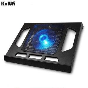 Image 1 - Podstawka chłodząca do laptopa Tablet PC Notebook poniżej 15 Cal podkładka chłodząca chłodzenie laptopa z pojedynczym wentylatorem 2 niebieska dioda LED Ergonoimice Design