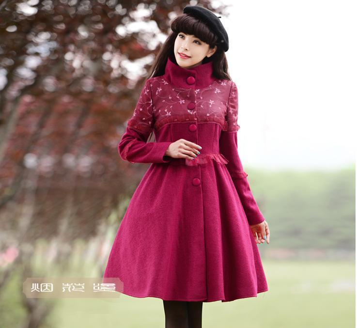 Organza Fille Veste 2018 Manteau Plus Slim Mode Lady Taille Rouge Manteaux Et Femmes De D'hiver Nouvelles Épissage Laine Mélange Automne 1Aqw41z