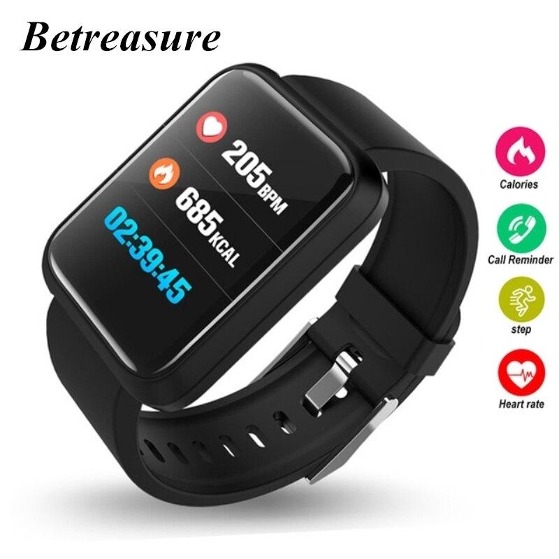 Betreasure Color pantalla inteligente reloj Bluetooth Corazón de Monitor de presión arterial inteligente Fitness GPS trayectoria de los hombres Relojes
