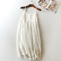 Little flowers embroidery modal cotton lace basic spagehtti strap long slip loose gauze petticoat