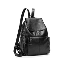 Osmond Backpack Women Genuine Leather School Bags For Teenage Girls Rucksack Female Bagpack For Women 2019 Black Bags Mochila