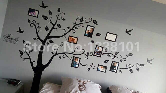 Free Shipping:Large 200*250Cm/79*99in Black 3D DIY Photo Tree PVC Wall Decals/Adhesive Family Wall Stickers Mural Art Home Decor 1