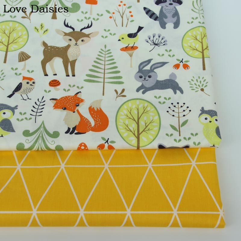 100% cotton twill cartoon OFF-WHITE animals fox deer forest yellow tri angle fabric for DIY kids crib bedding sheet handwork ...