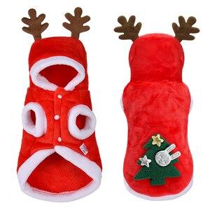 Image 1 - Świąteczne ubranka dla psów małe psy kostium mikołaja dla mopsa Chihuahua Yorkshire odzież dla kota kurtka płaszcz ubranie dla zwierząt domowych