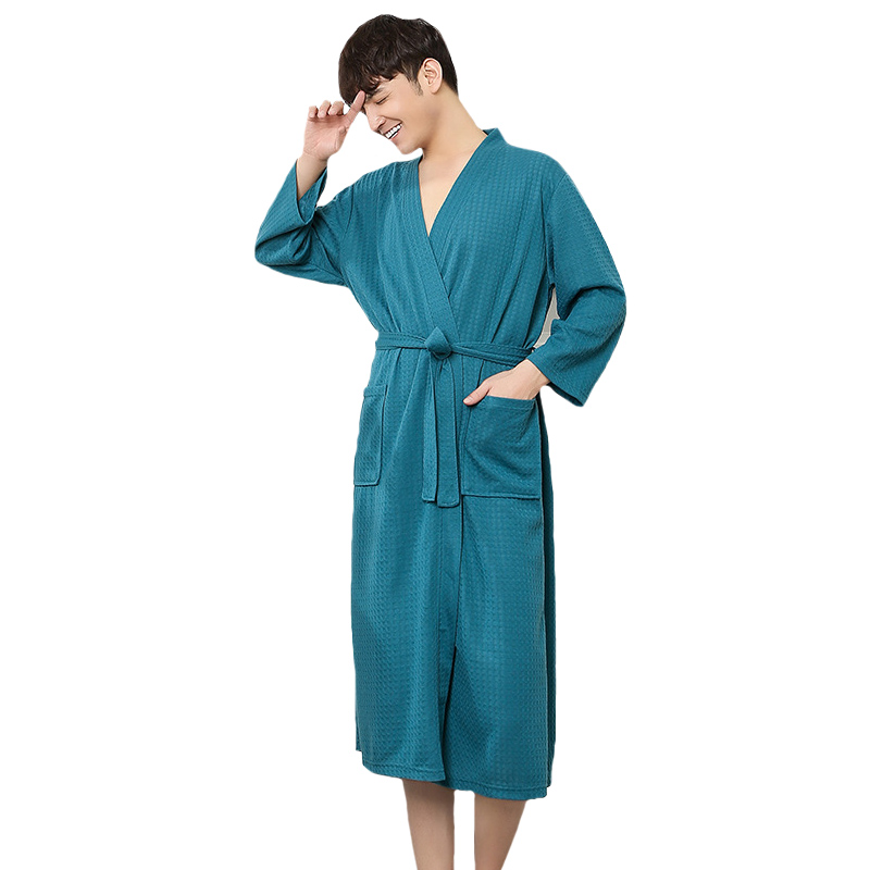 Chinese Men Spa Robe Home Dress Solid Kimono Sleepwear Cotton Nightwear Nightgown Dressing Bathrobe Gown Oversize M XL XXXL