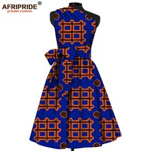 купить 2018 fashion african summer dress for women AFRIPRIDE sleeveless one-shoulder mid-calf length women fit and flare dress A1825069 по цене 4026.54 рублей