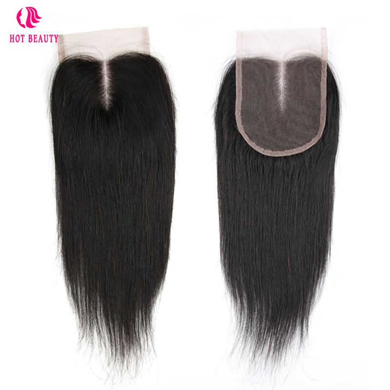 Hot Beauty Hair Brazilian Remy Straight Human Hair Lace Closure 8-20 Inch 4X4 Free Part/Middle Part/Three Part Closure