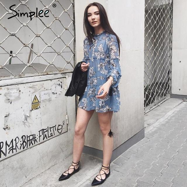 Simplee Boho floral print tassel women dress Autumn winter long sleeve ruffle chiffon dress Vintage loose short dress vestidos