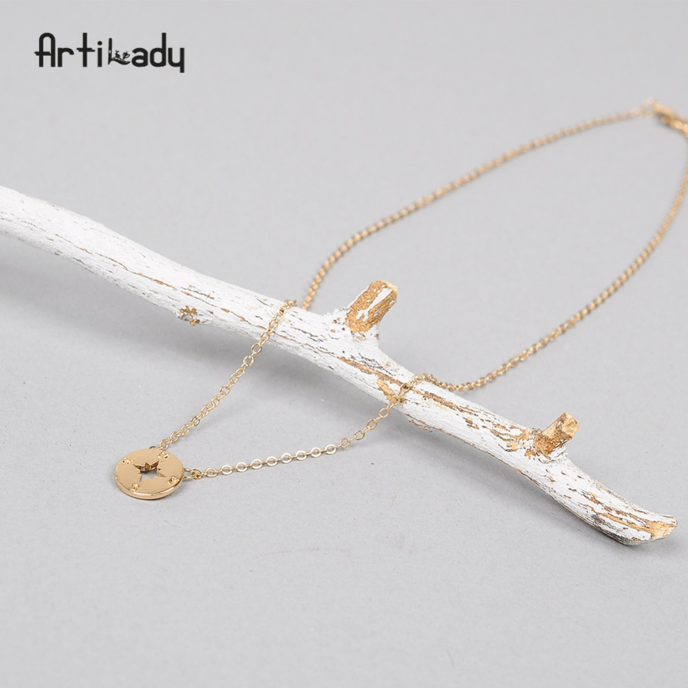 Artilady compass pendant necklace silve gold color minimalist necklace jewelry gift for women