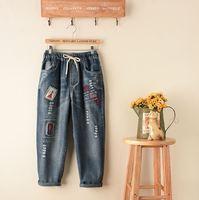 Harembroek vrouwen ripped jeans voor vrouwen fashion vrouwen Plus Size Denim Broek Handdoek Patch Werk Letters losse broek