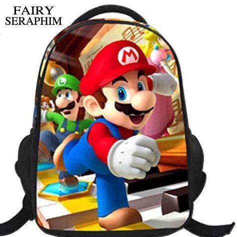 FATA SERAFINI Stampato Per Bambini freddi Sacchetti di Spalla Del Fumetto 3D Super Mario Bros per bambini e ragazzi Mochila Scuola Zaini
