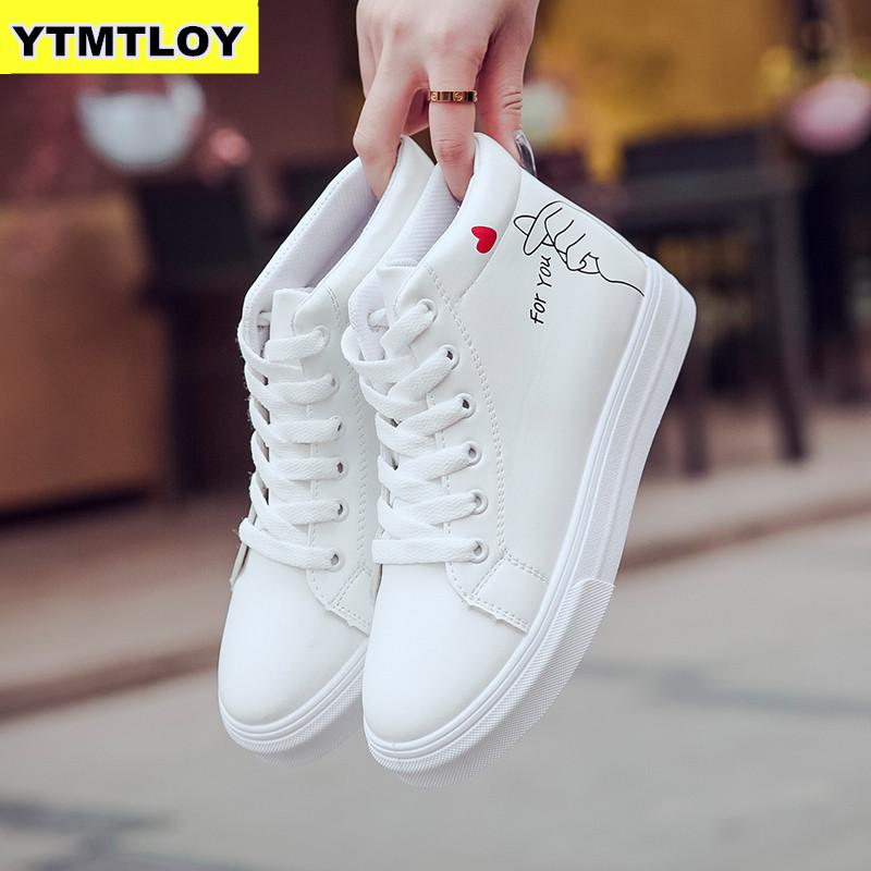 High Top Sneakers PU Casual Shoes White Flat Female Vulcanized Shoe Lace Up Solid Chaussure Femme Woman  Heart-shaped