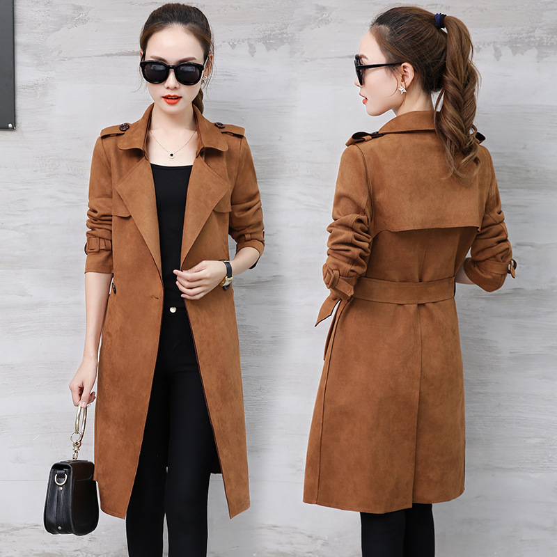 new Spring autumn overcoats women's Chamois   trench   coats long sleeve fashion turn-down collar overwear clothing Mid-long   Trench