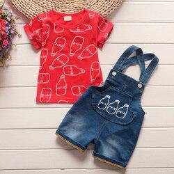 BibiCola produtos bebe Bebê meninos conjuntos de roupas de bebê verão de algodão tops + bib 2 pcs terno crianças para o bebê roupas