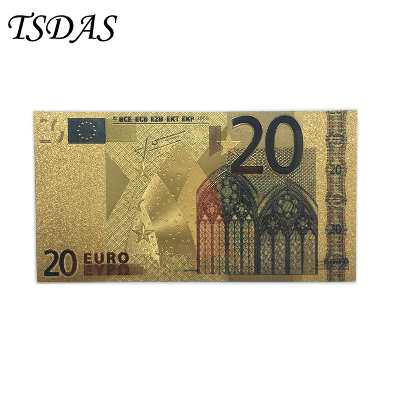24K Gold Color <font><b>Banknotes</b></font> <font><b>Euro</b></font> <font><b>20</b></font> <font><b>Banknotes</b></font> Collection Creative Gifts image