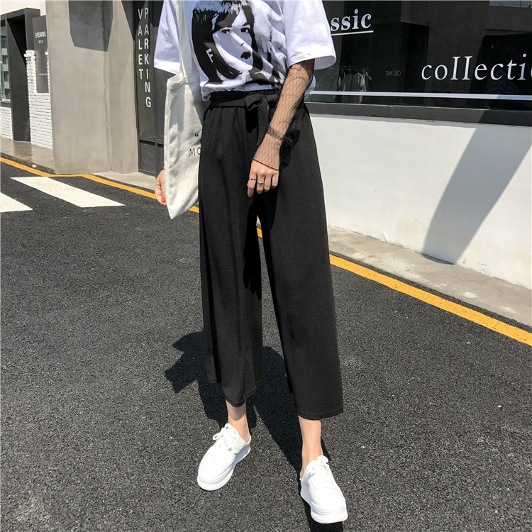 19 Women Casual Loose Wide Leg Pant Womens Elegant Fashion Preppy Style Trousers Female Pure Color Females New Palazzo Pants 30