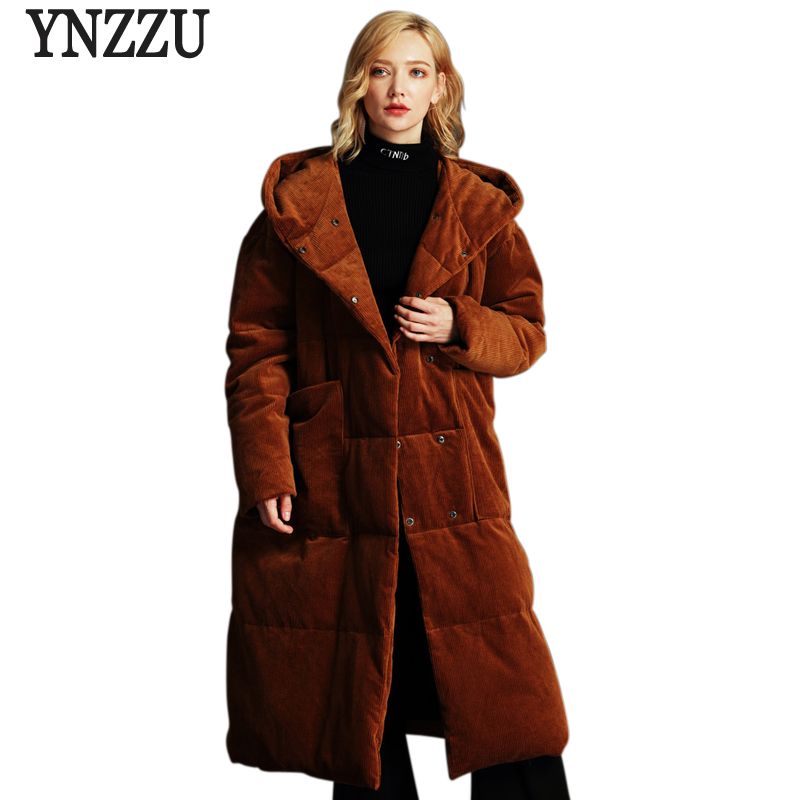 YNZZU High Quality 2018 Winter Women's   Down   Jacket Vintage Velvet Extra Long Duck   Down     Coat   Loose Snow Overcoat Plus Size O653