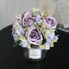 yumai 8 Heads Mini Roses Holding Flowers Bouquet Hydrangea Bride Wedding Hand Flower Silk Bunch Centerpiece Decor