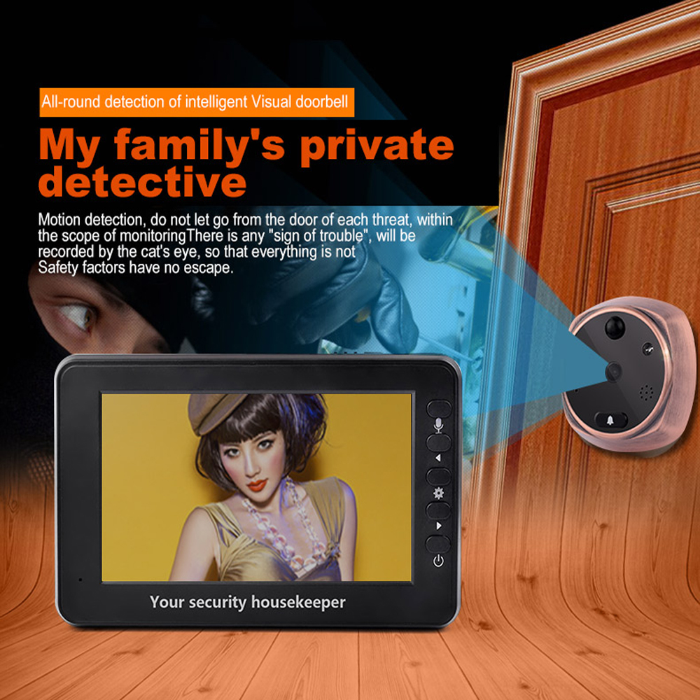 Household Intelligent Electronic Peep Hole 4.3 Inch Screen 160 Degree Angle Camera Lithium Battery Back Up Wire Type Talk Back