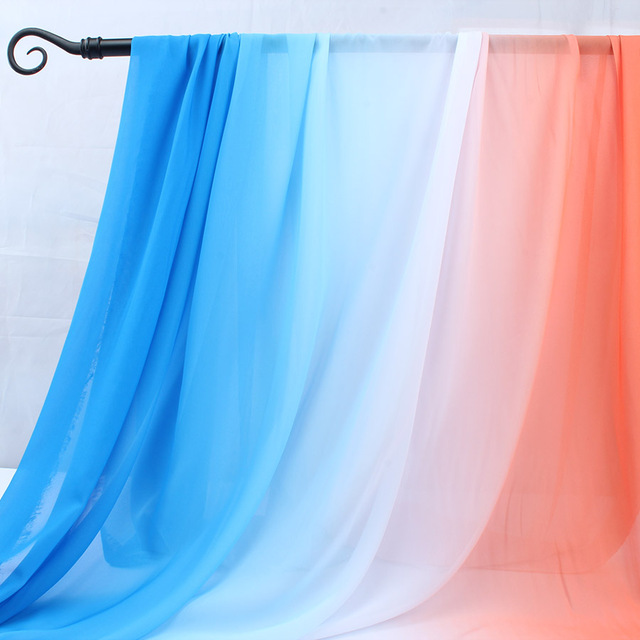 Gradient Color Chiffon Fabric 100d Chiffon Materials Evening Dress