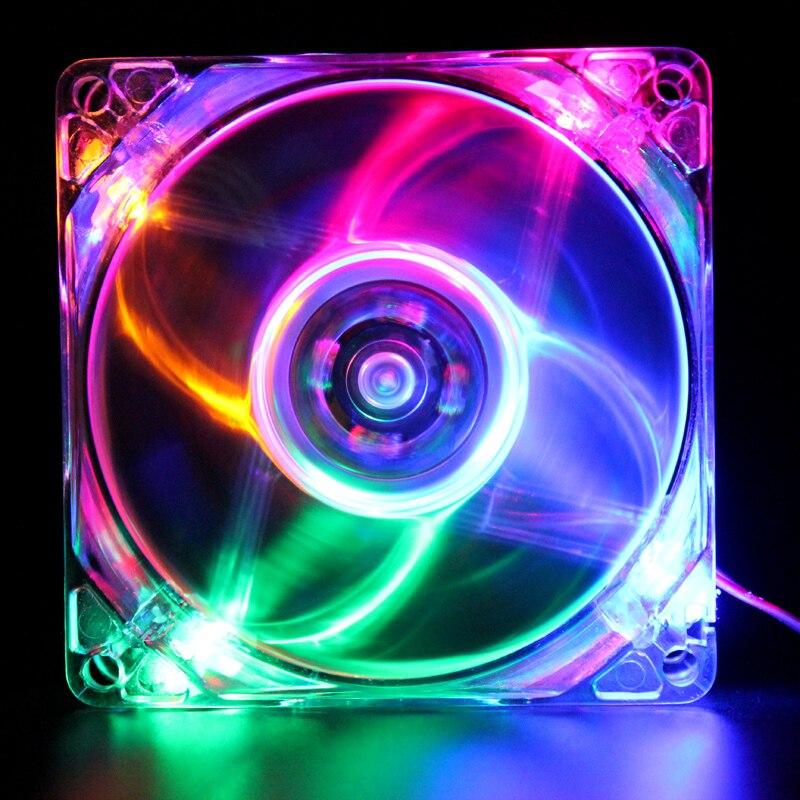 80mm computer kühlung 1 STÜCKE Pc DC 12 V 8 cm gehäuselüfter Halo LED AURA RGB 4pin PWM Ruhig Anzug für CPU Flüssigkeit kühler