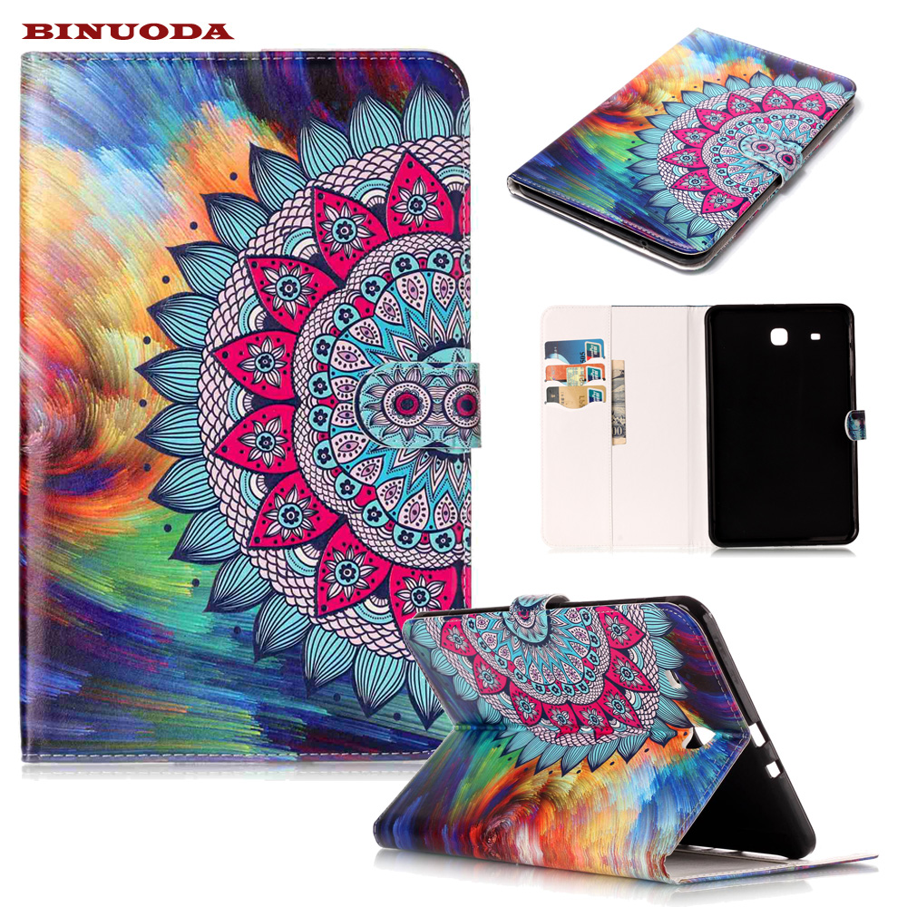 For Funda Samsung Tab E 9.6 Case Flower Synthetic Leather Auto Wake/Sleep Folio Cover Case for Samsung Galaxy TabE 9.6 T560 T561 ...