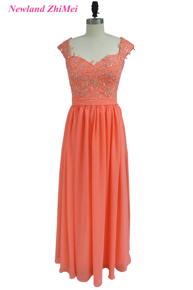 Hot Coral Long Bridesmaid Dress Good Design See Through Beaded Applique Chiffon Girl Party Gown for Wedding