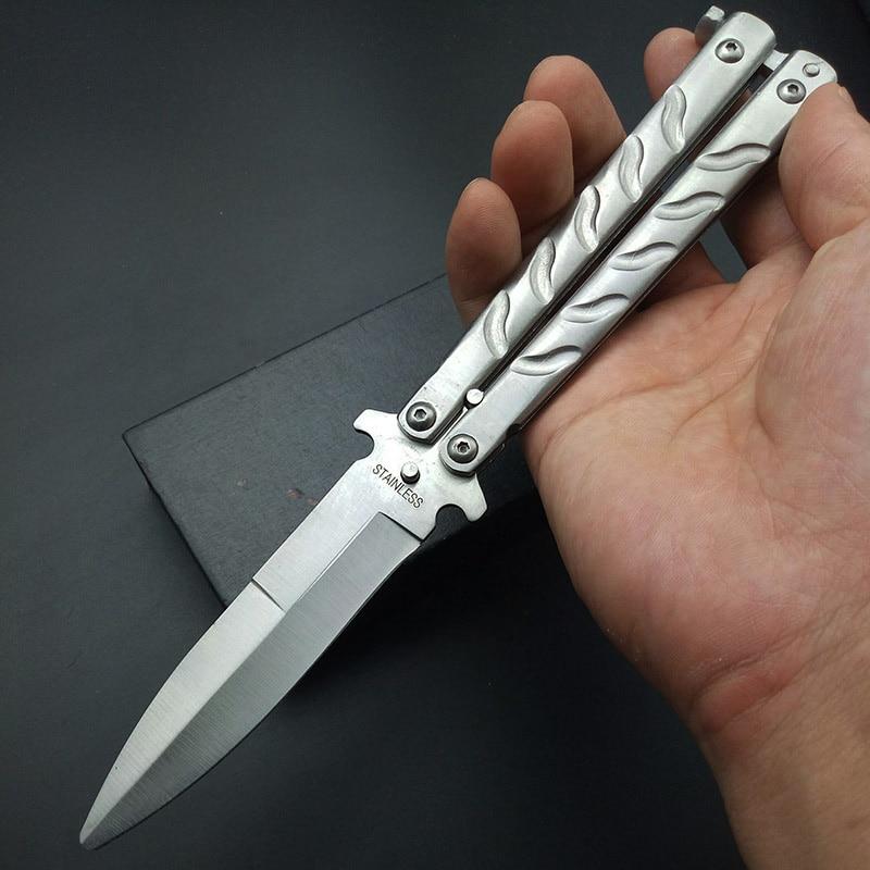 Fjäril i kniv Silver Titanbelagd träning Vikkniv Fjäril Inte skarp - Handverktyg - Foto 4