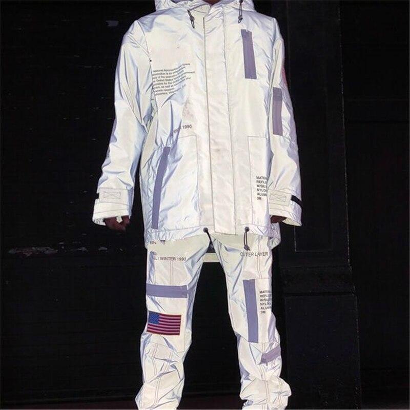 Melhor Versão Heron Refletivo de Alta Tecnologia Anorak Jaqueta Multicolor Bandeira Bordada Blusão Solto Fit Raglan Outwear