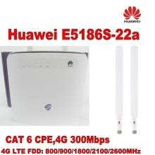 100% original unlock 300M huawei e5186s-22a 4g lte cpe super wifi router+ 2pcs LTE Antenna
