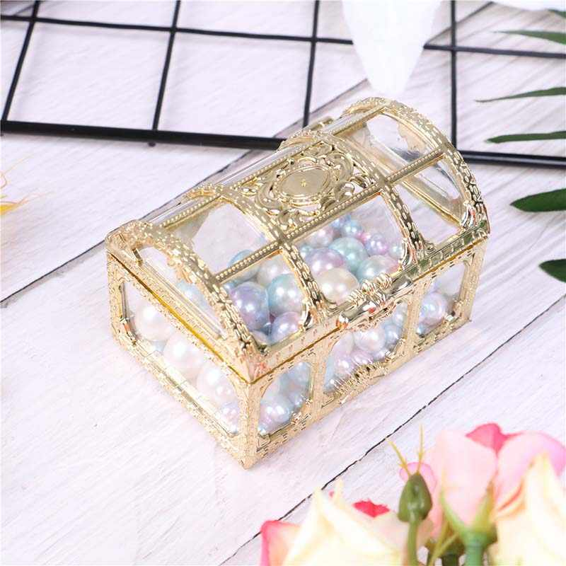 Gold Candy Ring Earrings Necklace Box Case Gift Birthday Party Wedding Decor Jewelry Packaging Bead Storage Wedding Jewelry Box