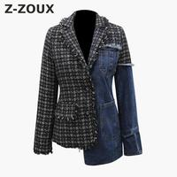 Z ZOUX Women Jacket Tweed Spliced Denim Jacket Irregular Jeans Jacket Long Sleeve Woman Denim Coat All Match Woman Tops Autumn