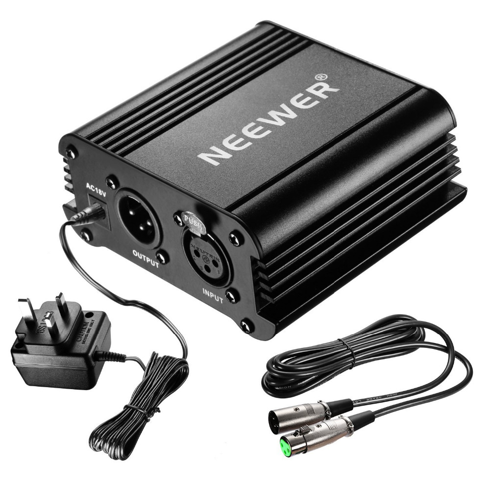Neewer 1-Channel 48VPhantom Power Supply with Adapter and One XLR Audio Cable for Condenser Microphone Music Recording Equipment