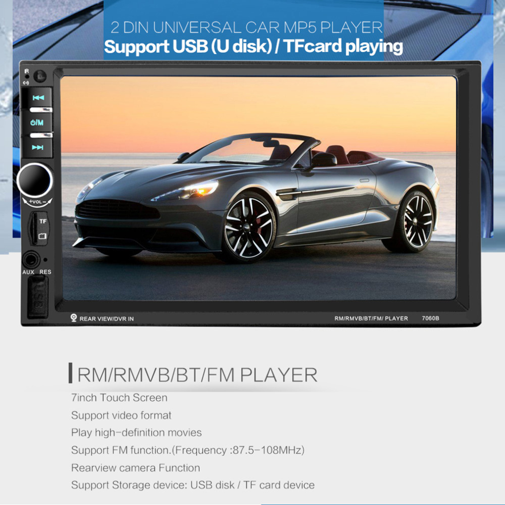 7 inch Bluetooth Vehicle Auto Car MP5/MP4/MP3 Video Player In Touch Screen Support MP3 USB TF AUX FM & Remote Control 12V mp4 плеер 2015 1 8 8gb mp4 e fm mp3 mp4 64 tf 1000sets new
