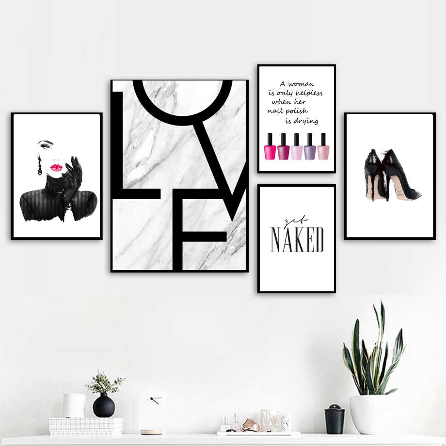 Sexy Girl Nail Polish Quotes Love Wall Art Canvas Painting Nordic Posters And Prints Wall Pictures For Living Room Salon Decor