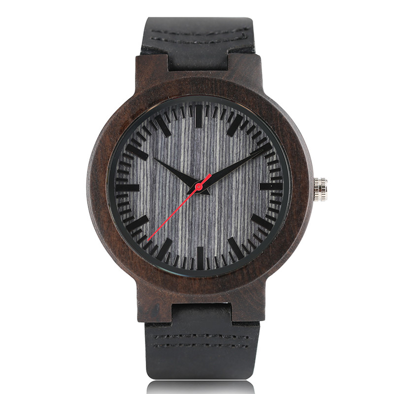 Luxury Men Women Quartz Wristwatch Ebony Case Black Genuine Leather Watchband Cost-effective Hand-made Simple Wood Watch Gift simple fashion hand made wooden design wristwatch 2 colors rectangle dial genuine leather band casual men women watch best gift