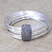 Hot Sale Nine Interlocking Links Bangle Real Silver four Leaves Lucky Clover Bracelet Limited Lady's S925 Pure Silver Bracelet