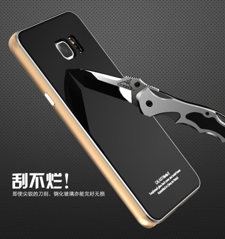 LUPHIE Metal Aluminum Alloy Border Tempered Glass Back Cover For Samsung Galaxy Note5 Note 5 N9200