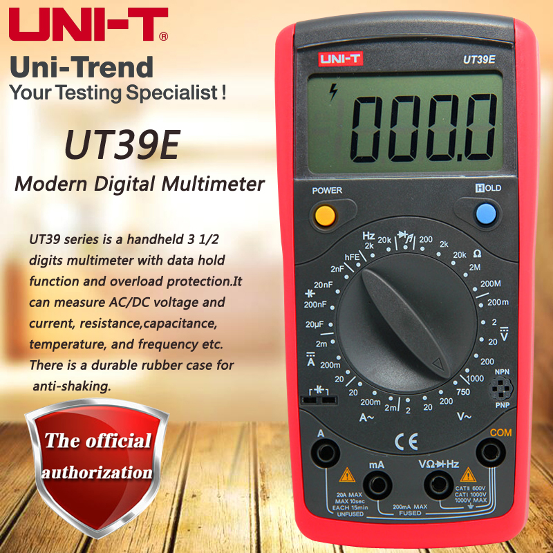 UNI-T UT39E Manual Range Switch Digital Multimeter 4 1/2 Digit Multimeters Resistance / Capacitance / Frequency Test uni t ut39e general manual range digital multimeters ut 39e transistor dc ac volt ampere resistance capacitance frequency meter