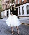 2016 Grunge Tutu Saias Jupe Feminino Das Mulheres Sopro Saia de Tule Faldas Cintura Alta Midi Na Altura Do Joelho Chiffon branco Plus Size S-5XL