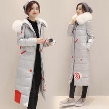 2016 средней длины печати пуховик женский удлинить утолщение тонкий зимой вниз пальто плащ 9018