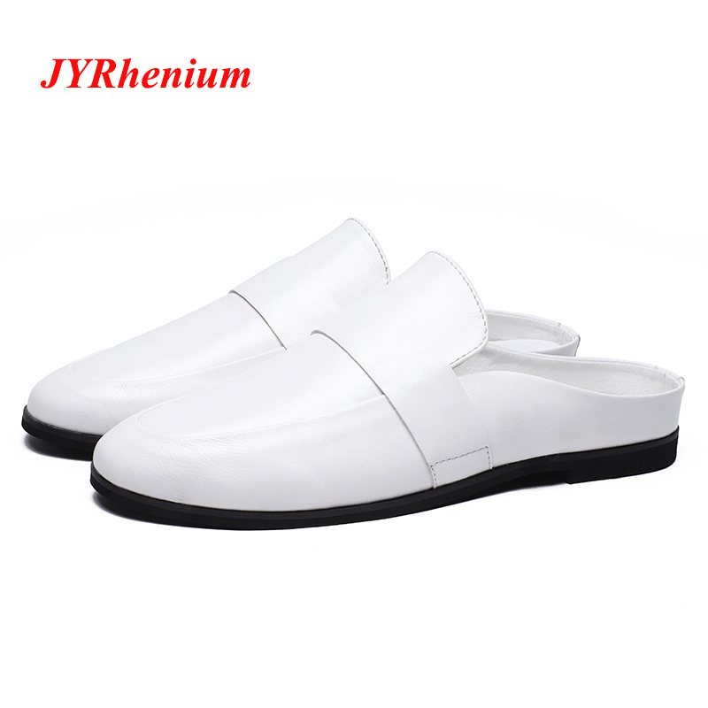 JYRhenium Brand Casual Soft Leather Slippers Male For Men Shoes Adult 2018 Fashion Popular Walking Slides Footwear New Arrival