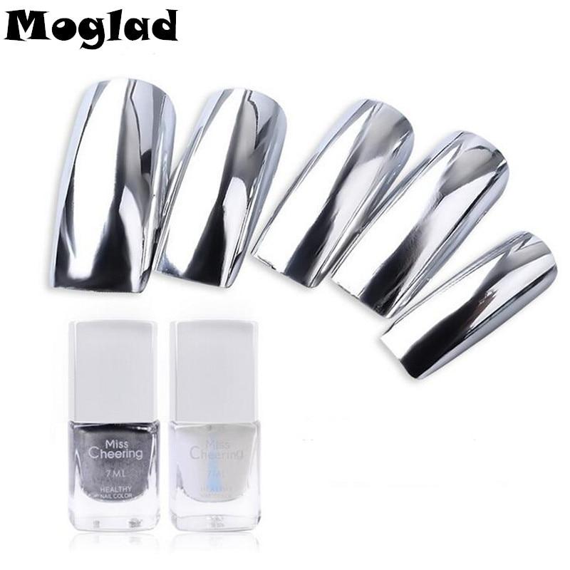 Moglad 2pcs set 7ml Mirror Silver Peel Off Metal Nail Polish base Coat Varnish Nail Polish Metallic Nail Art DIY Tools