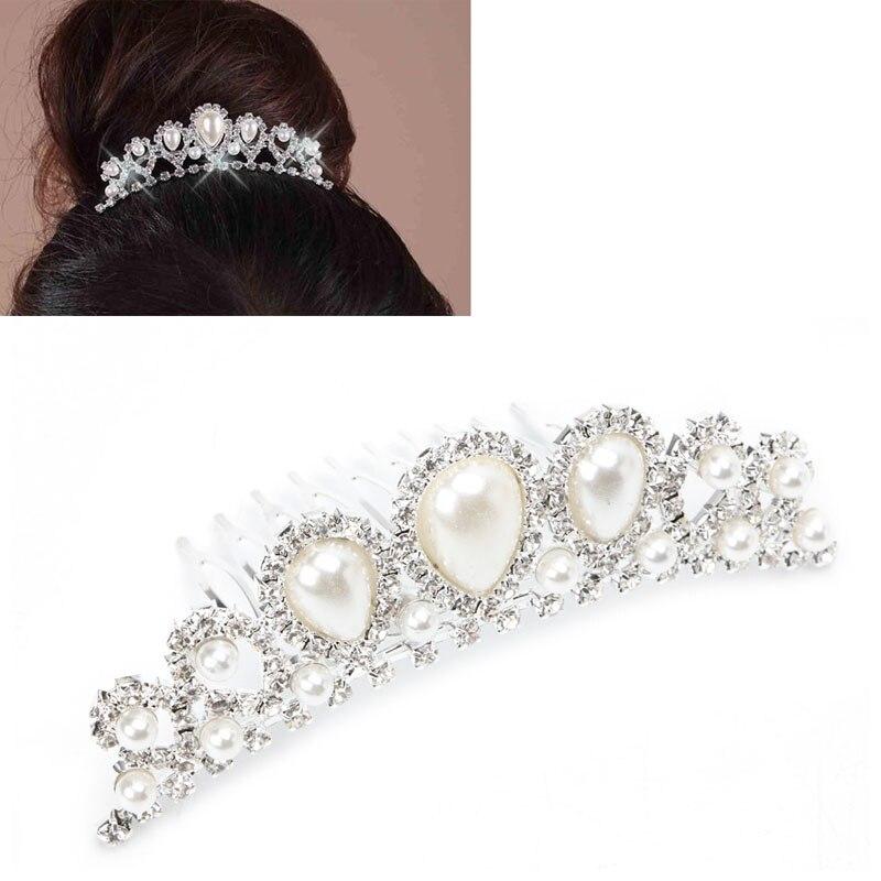 Silver Rhinestone Crown Faux Pearl Hair Clip Comb Tiara