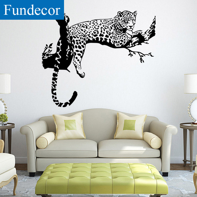 leopard decor for living room remote holder fundecor removable black animals wall stickers home bedroom adhesive car decals art murals diy