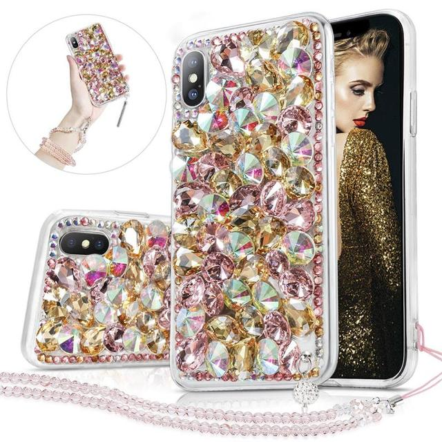 buy popular 433a0 0f6b5 US $8.39 35% OFF For iPhone Xr/Xs Max Back Case 3D Handmade Bright Shining  Crystal Rhinestone Hard Back Case Bling Diamond with Lanyard-in Fitted ...